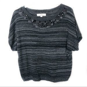 Loft Short Sleeve Sweater with Jeweled Scoop Neck